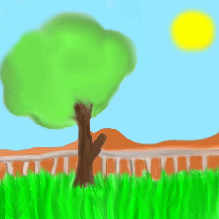 iPad Drawing - Tree and Grass